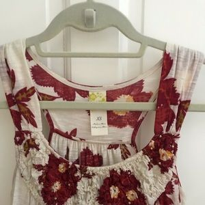 Anthropologie Floral Shirred Tank